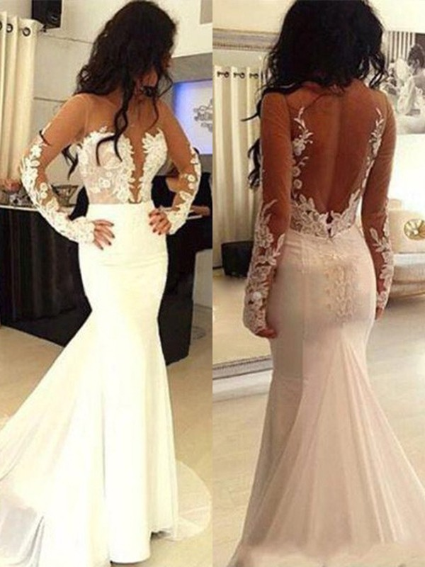Open to Adoration Mermaid Style Scoop Chiffon Applique Sweep/Brush Train Dresses