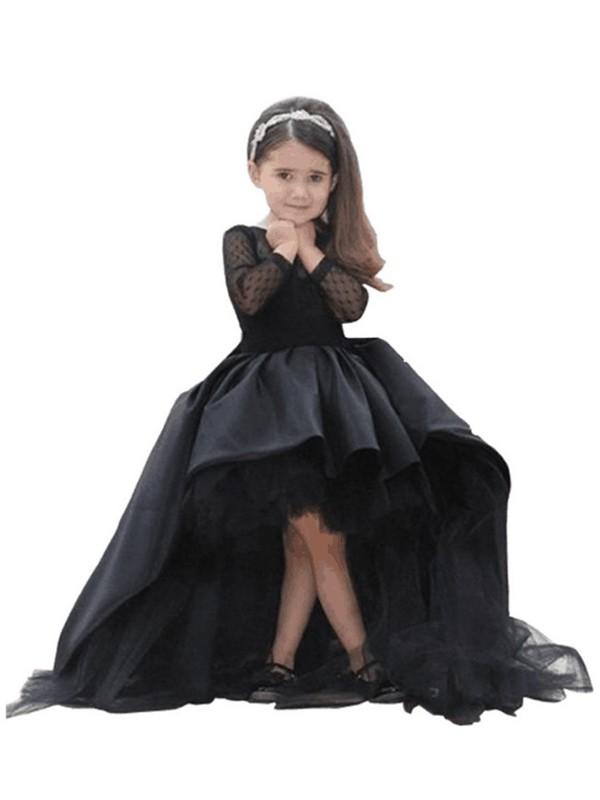 Modern Mood Ball Gown Scoop Sash/Ribbon/Belt Floor-Length Satin Flower Girl Dresses