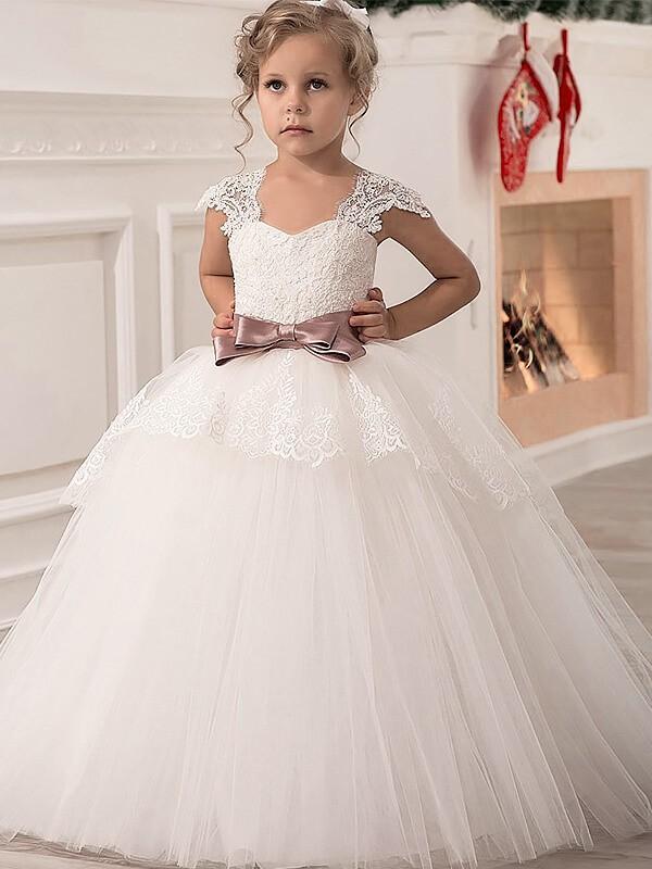 Pleasant Emphasis Ball Gown Straps Sash/Ribbon/Belt Tulle Floor-Length Flower Girl Dresses
