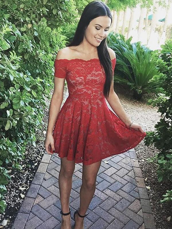 Fresh Picks Princess Style Off-the-Shoulder Short/Mini Lace Dresses