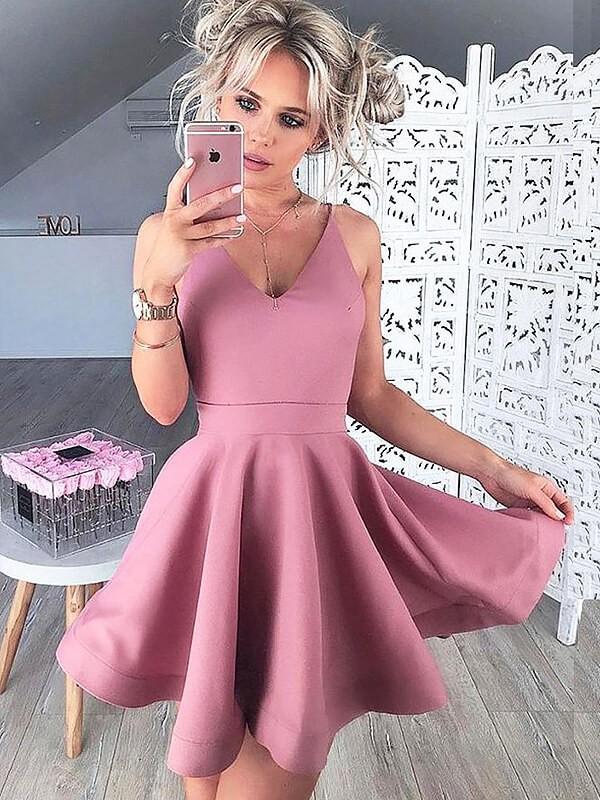 Limitless Looks Princess Style V-neck Satin Short/Mini Dresses