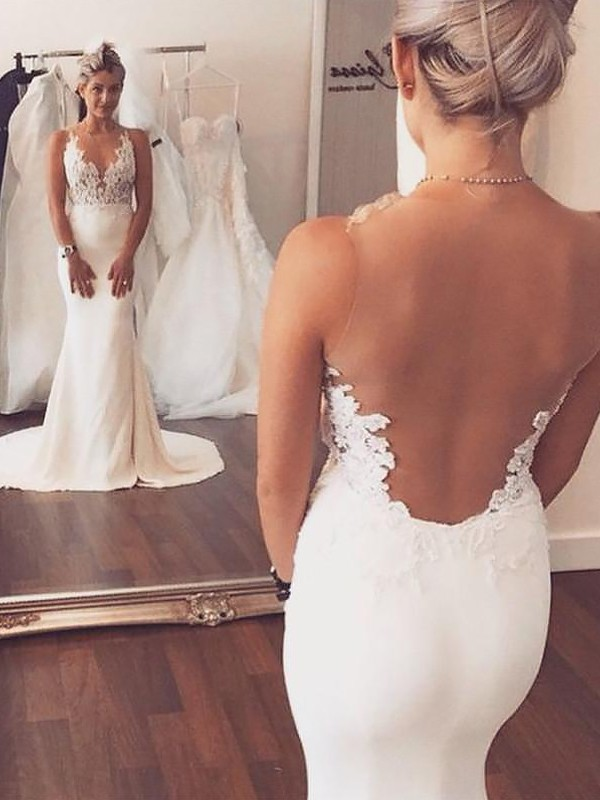 Easily Adored Mermaid Style Spandex With Applique Scoop Court Train Wedding Dresses