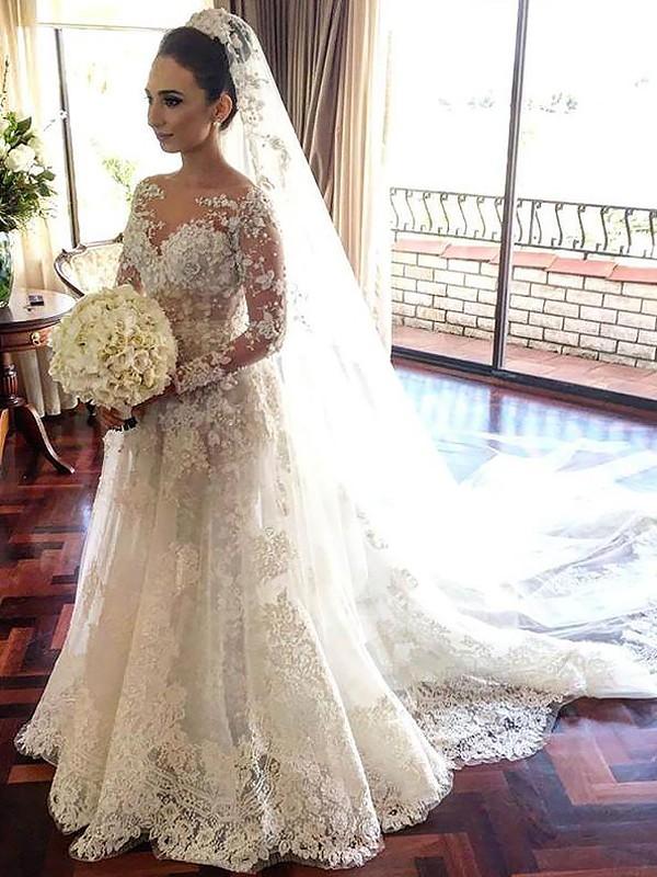 Dashing Darling Princess Style Bateau Lace Chapel Train Tulle Wedding Dresses
