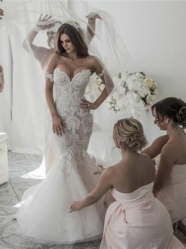 Vibrant Stylist Mermaid Style Chapel Train Off-the-Shoulder Tulle Wedding Dresses