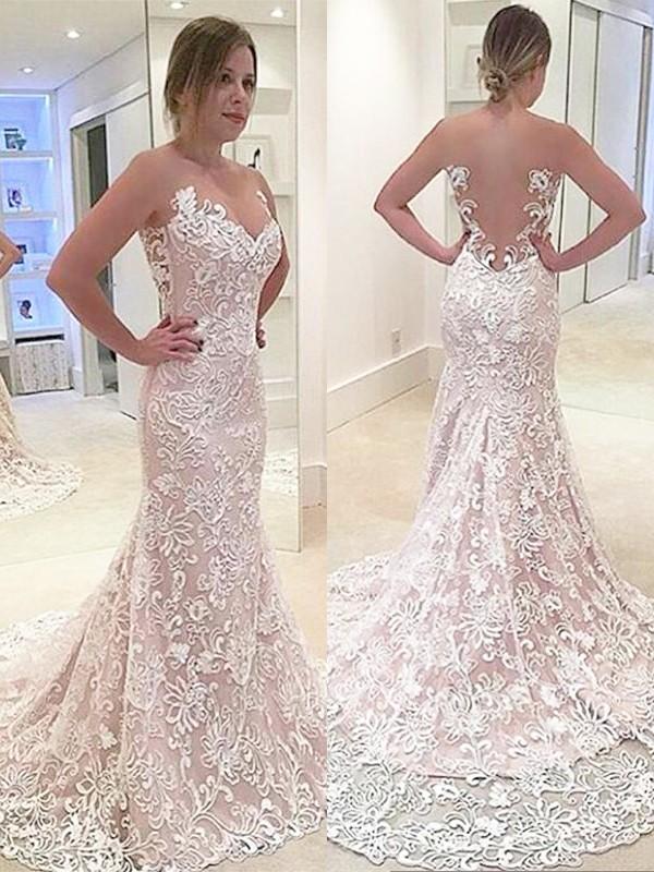 Treasured Reveries Mermaid Style Lace Sweetheart Sweep/Brush Train Wedding Dresses