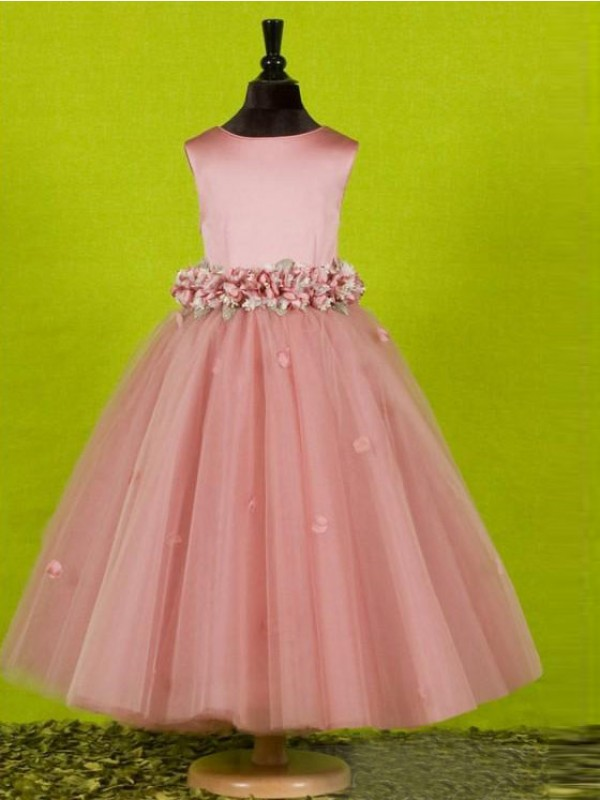 Sweet Sensation Princess Style Scoop Bowknot Long Tulle Flower Girl Dresses