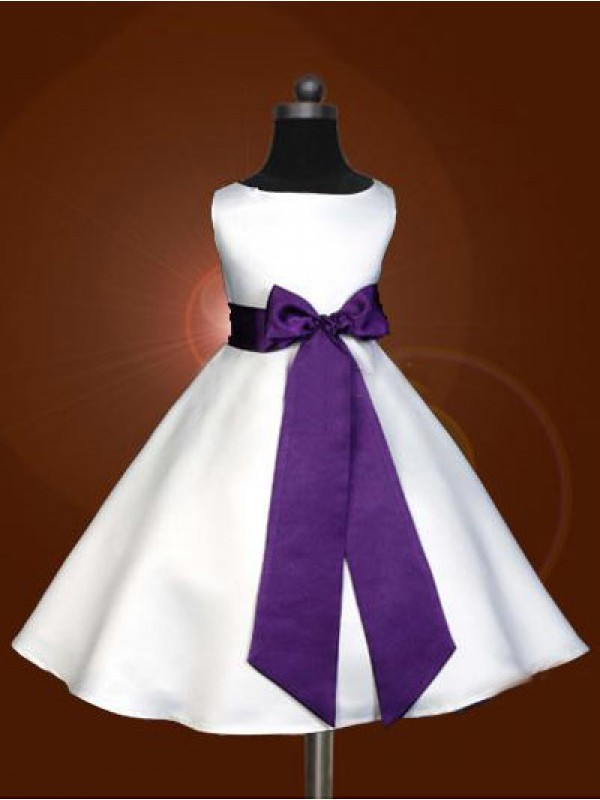 Cordially Delighted Princess Style Scoop Bowknot Long Satin Flower Girl Dresses