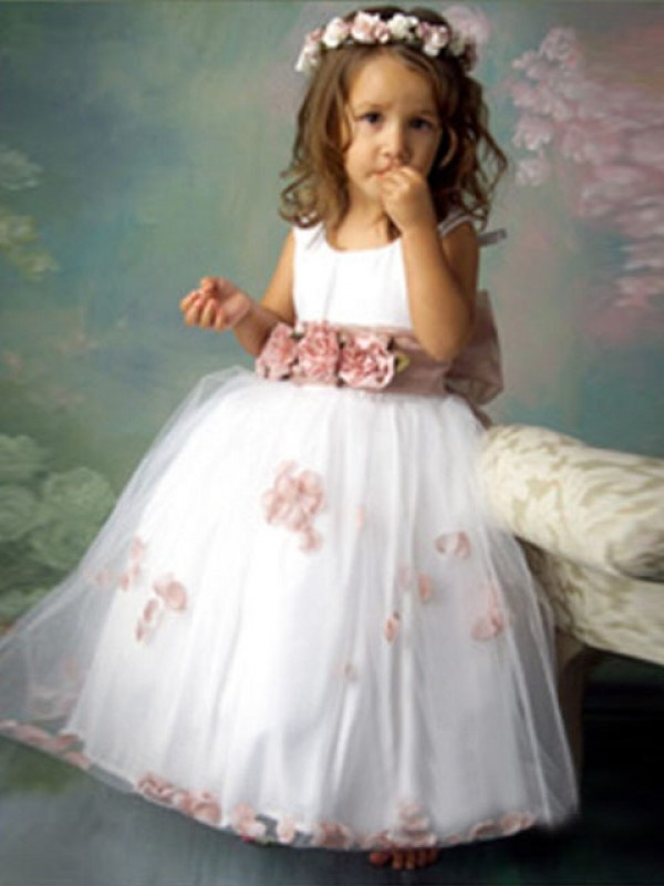 Visual Moment Princess Style Scoop Hand-made Flower Long Tulle Flower Girl Dresses