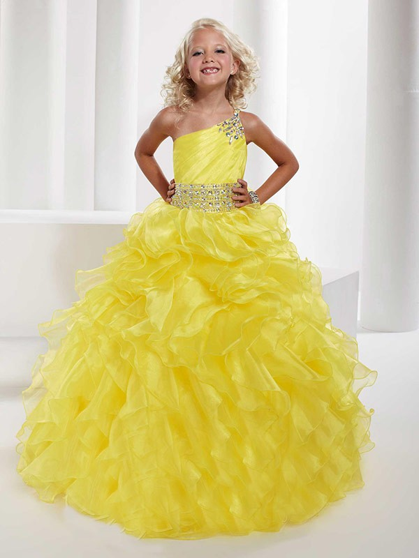 Befits Your Brilliance Ball Gown One-shoulder Beading Long Organza Flower Girl Dresses