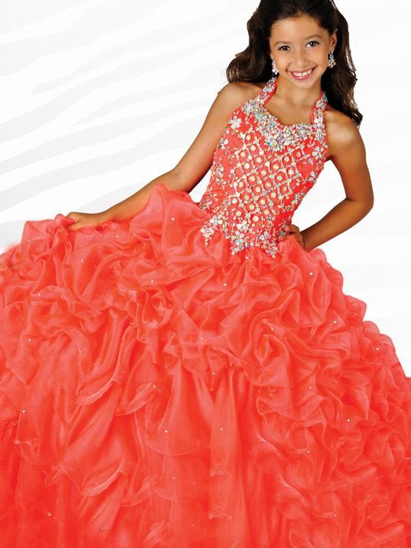 Modern Mood Ball Gown Halter Beading Long Organza Flower Girl Dresses