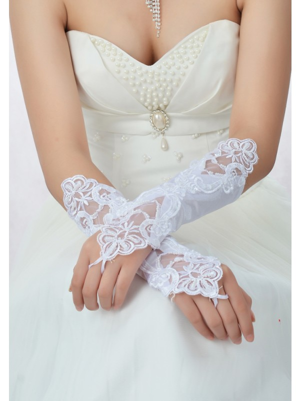 Stunning Beading Lace Satin Wedding Gloves