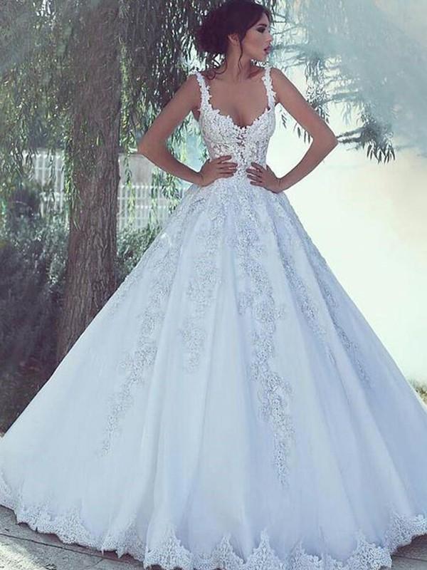 Confident Option Ball Gown Spaghetti Straps Floor-Length Applique Tulle Wedding Dresses