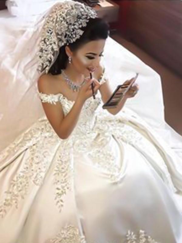 Dancing Queen Ball Gown Off-the-Shoulder Sweep/Brush Train Applique Satin Wedding Dresses