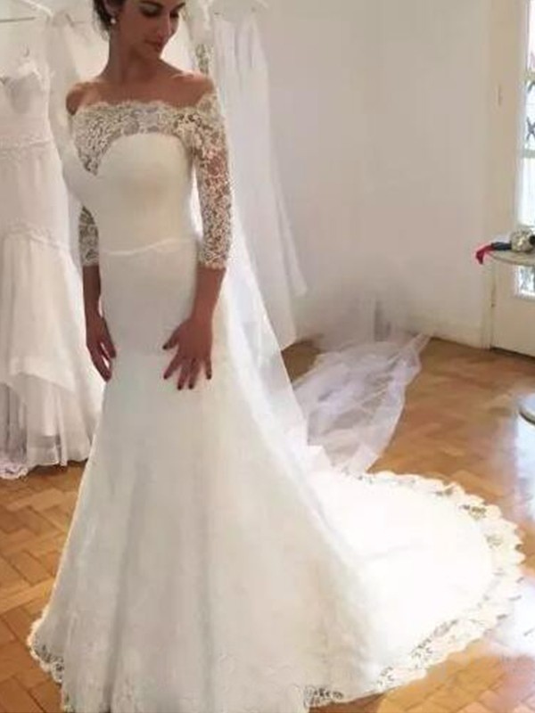 Easily Adored Mermaid Style Off-the-Shoulder Sweep/Brush Train Ruffles Lace Wedding Dresses