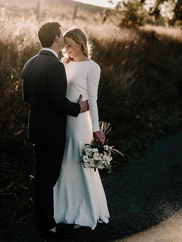 Befits Your Brilliance Sheath Style Jewel Floor-Length Ruffles Stretch Crepe Wedding Dresses