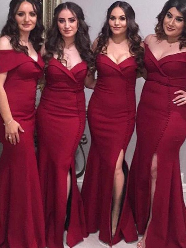 Time to Shine Sheath Style Off-the-Shoulder Floor-Length Ruched Satin Bridesmaid Dresses
