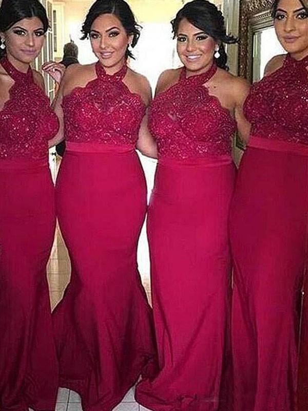 Limitless Looks Sheath Style Halter Sweep/Brush Train Lace Satin Bridesmaid Dresses