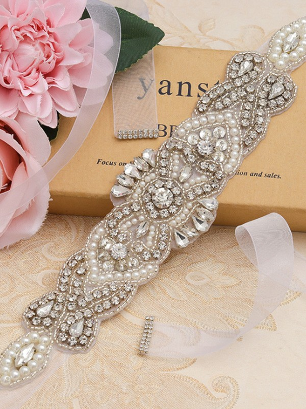 Beautiful Satin/Organza Sashes With Rhinestones/Imitation Pearls