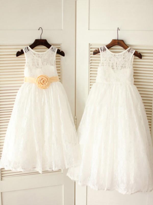 Befits Your Brilliance Princess Style Scoop Sash/Ribbon/Belt Long Lace Flower Girl Dresses