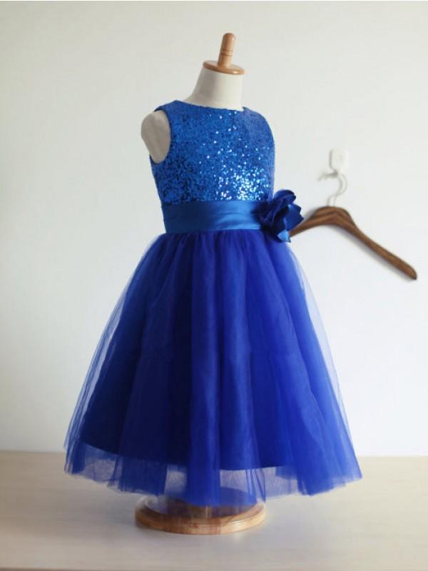 Memorable Magic Princess Style Jewel Hand-Made Flower Tulle Long Flower Girl Dresses