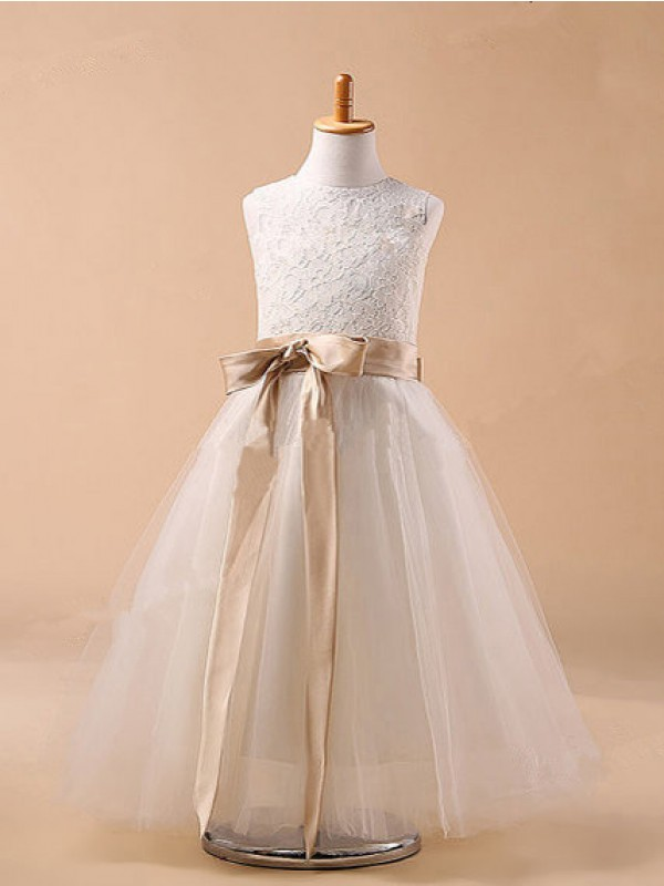 Defined Shine Ball Gown Jewel Bowknot Long Tulle Flower Girl Dresses