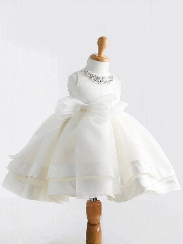 Easily Adored Ball Gown Jewel Bowknot Long Satin Flower Girl Dresses