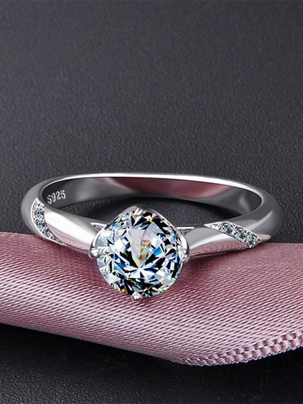 Elegant S925 Silver With Zircon Wedding Rings