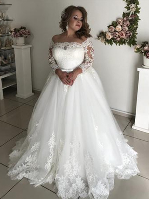 Pretty Looks Princess Style Off The Shoulder Long Sleeves Sweep Brush Train Lace Tulle Wedding Dresses Joybetty Online,Wedding Party Wear Pakistani Designer Dresses Online Shopping