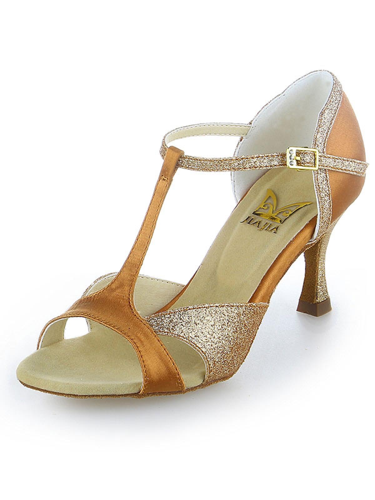 7e8ef72b707 Women s Satin Peep Toe Sparkling Glitter Stiletto Heel Dance Shoes