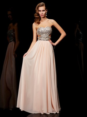 Defined Shine Princess Style Sweetheart Rhinestone Long Chiffon Dresses