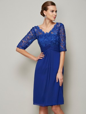 Festive Self Sheath Style V-neck Lace Short Chiffon Mother of the Bride Dresses