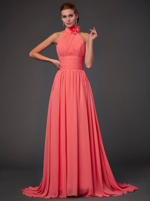Easily Adored Princess Style Halter Hand-Made Flower Long Chiffon Bridesmaid Dresses