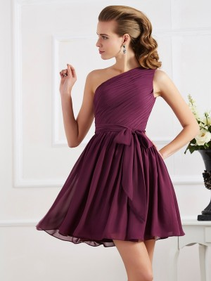 Glitz the Spot Princess Style Pleats One-Shoulder Short Chiffon Bridesmaid Dresses