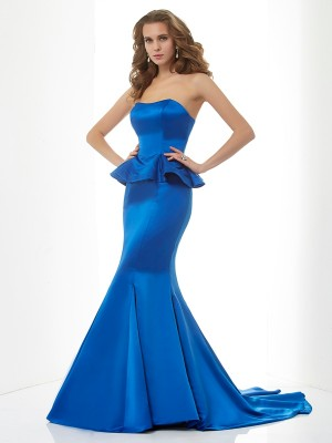Sweet Sensation Mermaid Style Sweetheart Long Satin Bridesmaid Dresses