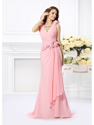 Glitz the Spot Mermaid Style V-neck Hand-Made Flower Long Chiffon Bridesmaid Dresses