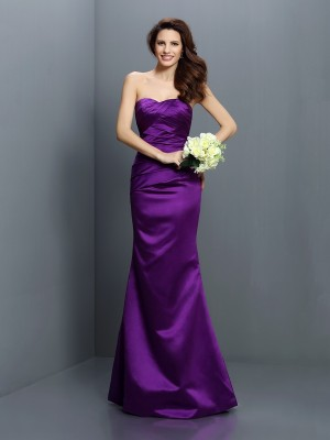 Eye-Catching Charm Mermaid Style Strapless Pleats Long Satin Bridesmaid Dresses