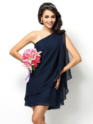 Memorable Magic Princess Style One-Shoulder Short Chiffon Bridesmaid Dresses