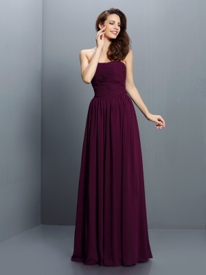 Lively Identity Princess Style Strapless Pleats Long Chiffon Bridesmaid Dresses