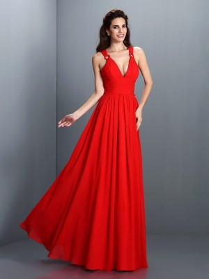Sweet Sensation Princess Style V-neck Pleats Long Chiffon Bridesmaid Dresses