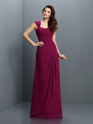 Desired Spotlight Princess Style Straps Pleats Long Chiffon Bridesmaid Dresses