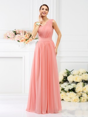 Pleasant Emphasis Princess Style One-Shoulder Pleats Long Chiffon Bridesmaid Dresses