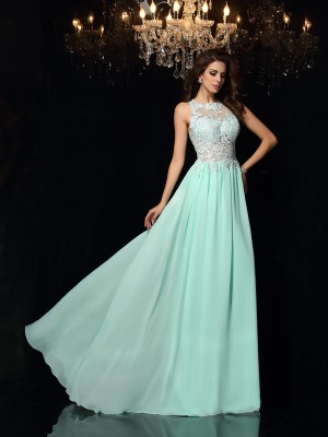 Styled to Smile Princess Style High Neck Applique Long Chiffon Dresses