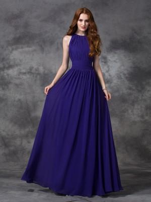 Befits Your Brilliance Princess Style Jewel Ruched Long Chiffon Bridesmaid Dresses