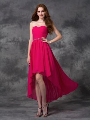 Eye-Catching Charm Princess Style Sweetheart Beading High Low Chiffon Bridesmaid Dresses