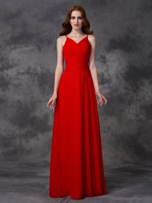 Aesthetic Honesty Princess Style Spaghetti Straps Ruffles Long Chiffon Bridesmaid Dresses
