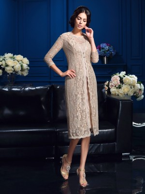 Savor the Occasion Sheath Style Scoop Lace Short Taffeta Mother of the Bride Dresses
