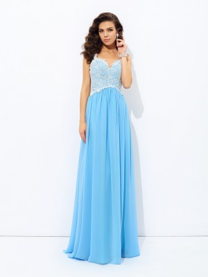 Creative Courage Princess Style V-neck Lace Long Chiffon Dresses