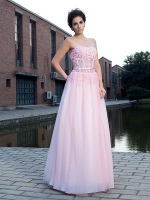 Automatic Classic Princess Style Straps Applique Long Net Dresses