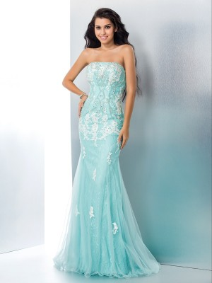 Pretty Looks Mermaid Style Strapless Applique Long Lace Dresses