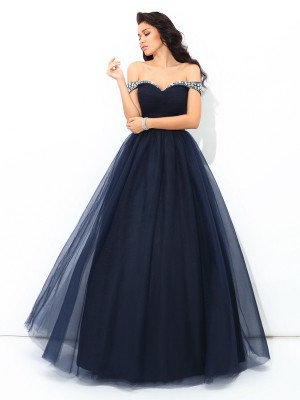 Limitless Looks Ball Gown Off-the-Shoulder Beading Long Net Quinceanera Dresses